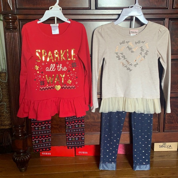 Lot of 2 Little Girl's Fall/Holiday Outfits